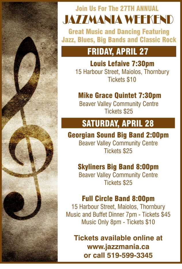 JAZZMANIA - APRIL 27,28, THORNBURY