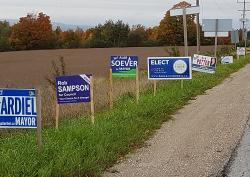 CANDIDATES FOR TOWN OF THE BLUE MOUNTAINS REMOVE THEIR ELECTION SIGNS